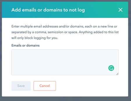 Never log emails hubspot